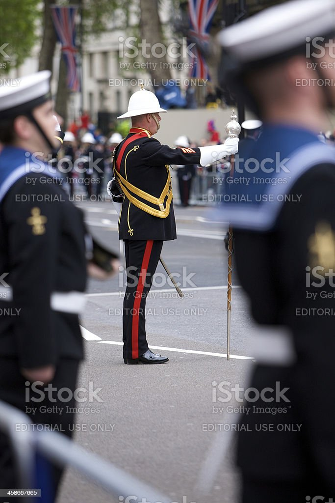 Drum Major of Royal Marines band at Diamond Jubilee royalty-free stock photo