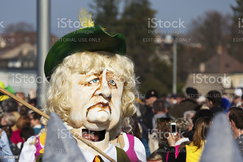 Drum Major Wearing Angela Merkel Mask at Basel Carneval stock photo