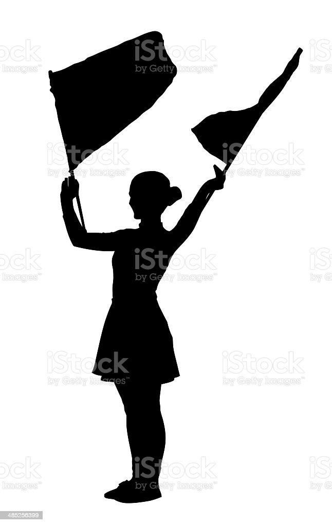 Tambor Majorettes agitando Flags línea chica - foto de stock