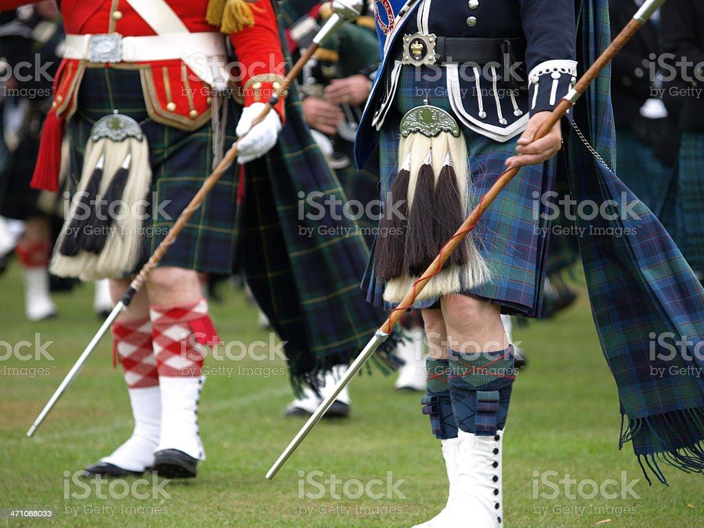 Drum Majors, Scottish Pipe Band royalty-free stock photo