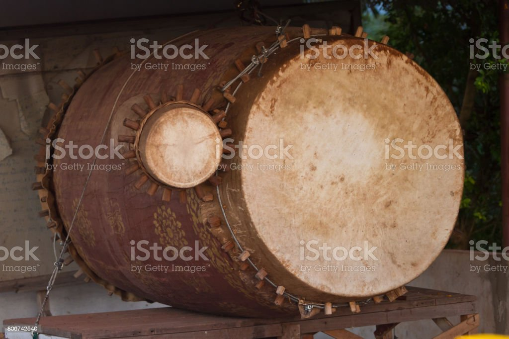 Drum of a buddhism temple stock photo