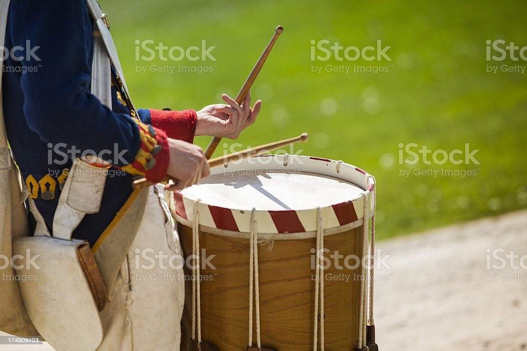 Drum on a parade re-enactment stock photo