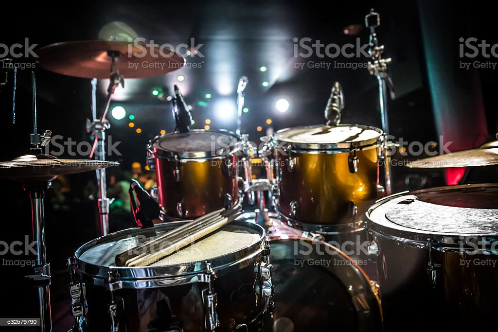 Drum on stage stock photo