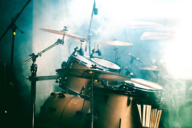 Drum on stage Live music background. Drum on stage drum kit stock pictures, royalty-free photos & images