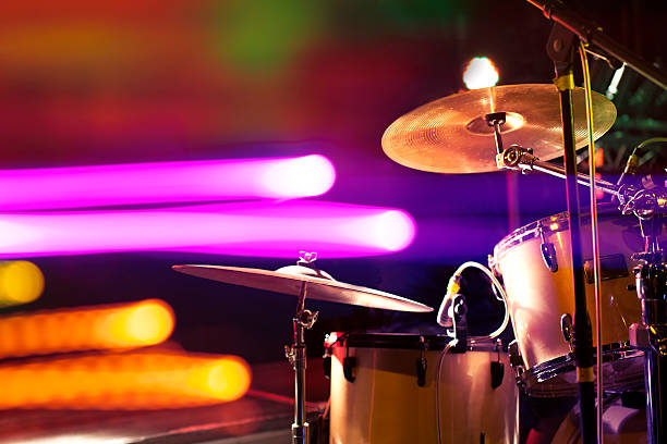 Drum on stage Live music background.Drum on stage and concert lights drum kit stock pictures, royalty-free photos & images