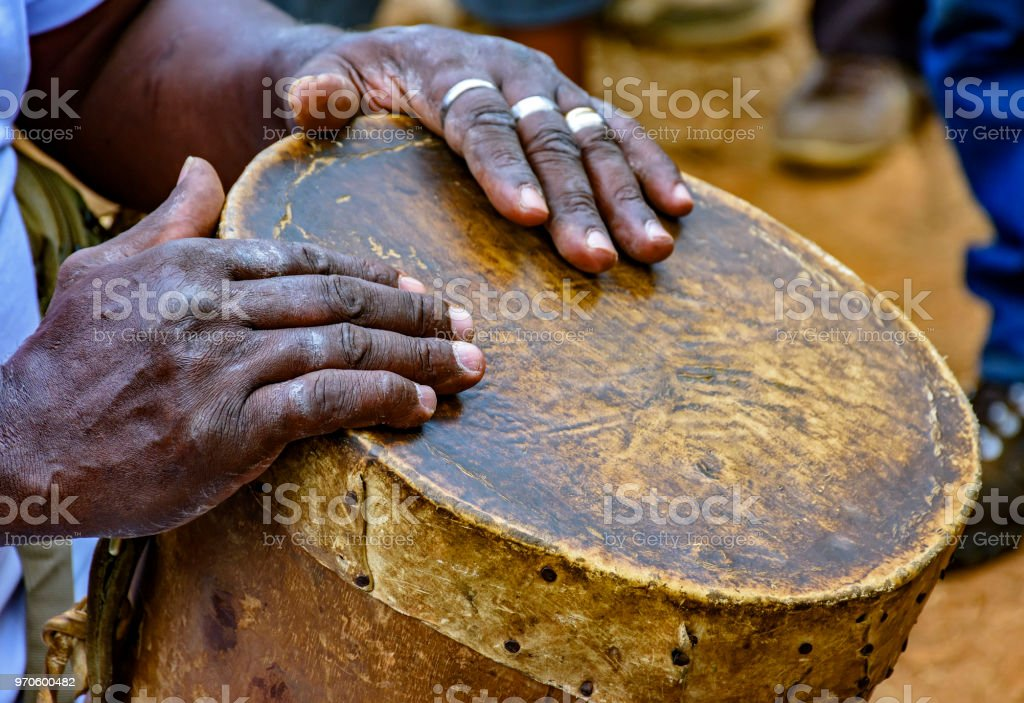 Drum player hands and your rudimentary instrument stock photo