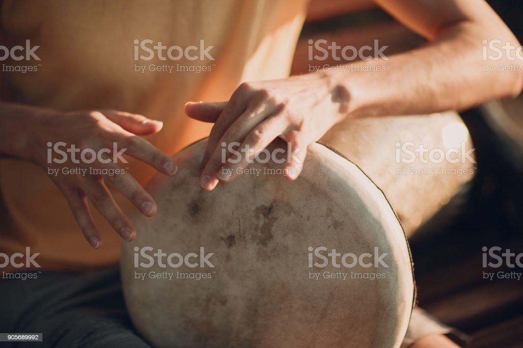 Drum playing stock photo