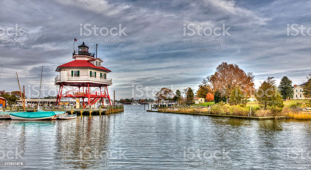 Drum Point Lighthouse in Maryland stock photo