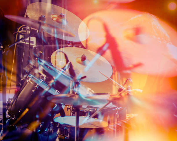 Drum set, music and jazz band concept. stock photo
