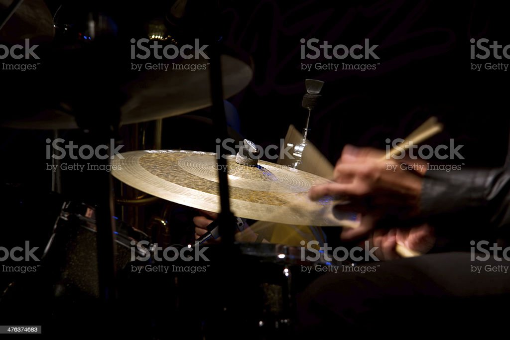 Drum set with focus on hi-hat cymbal royalty-free stock photo