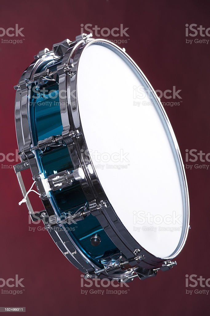 Drum Snare Blue Isolated on Red stock photo