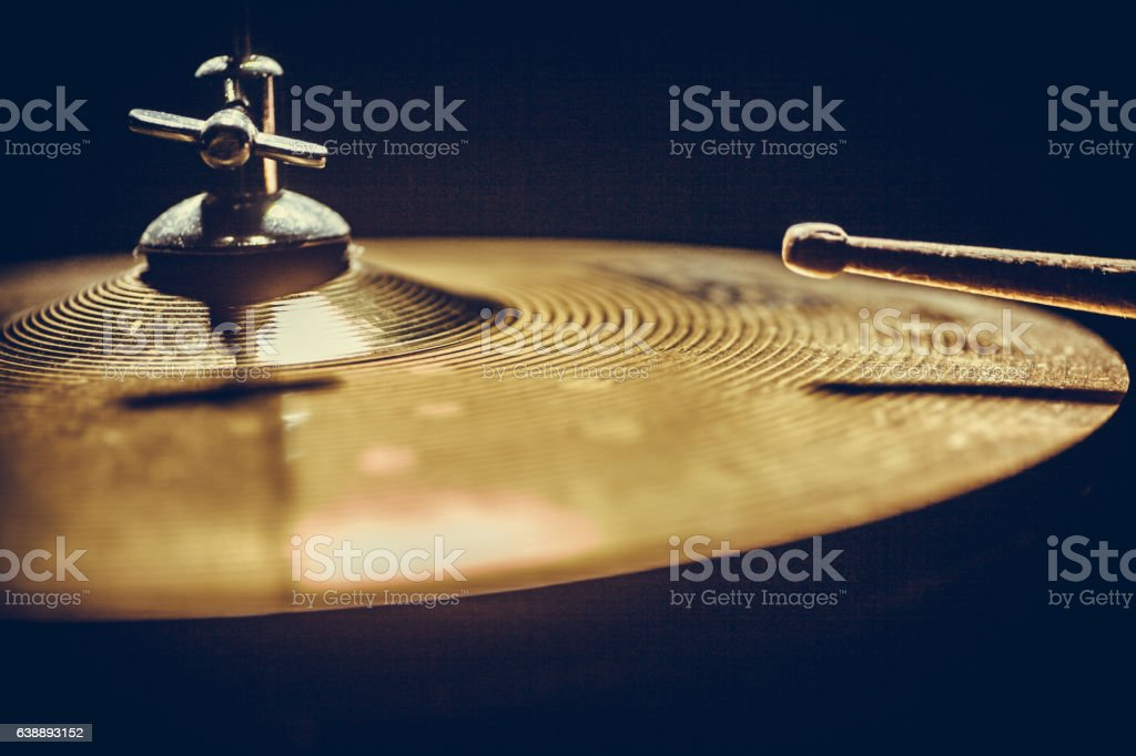 Drum stick and cymbal detail stock photo