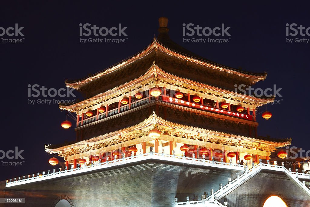 Drum tower at night, Xi'an royalty-free stock photo