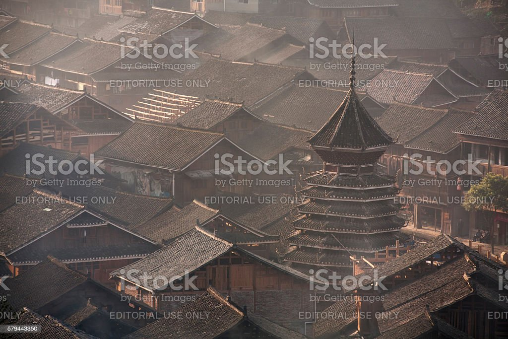 Drum Tower in village of Dong ethnic minority, southwest China. stock photo