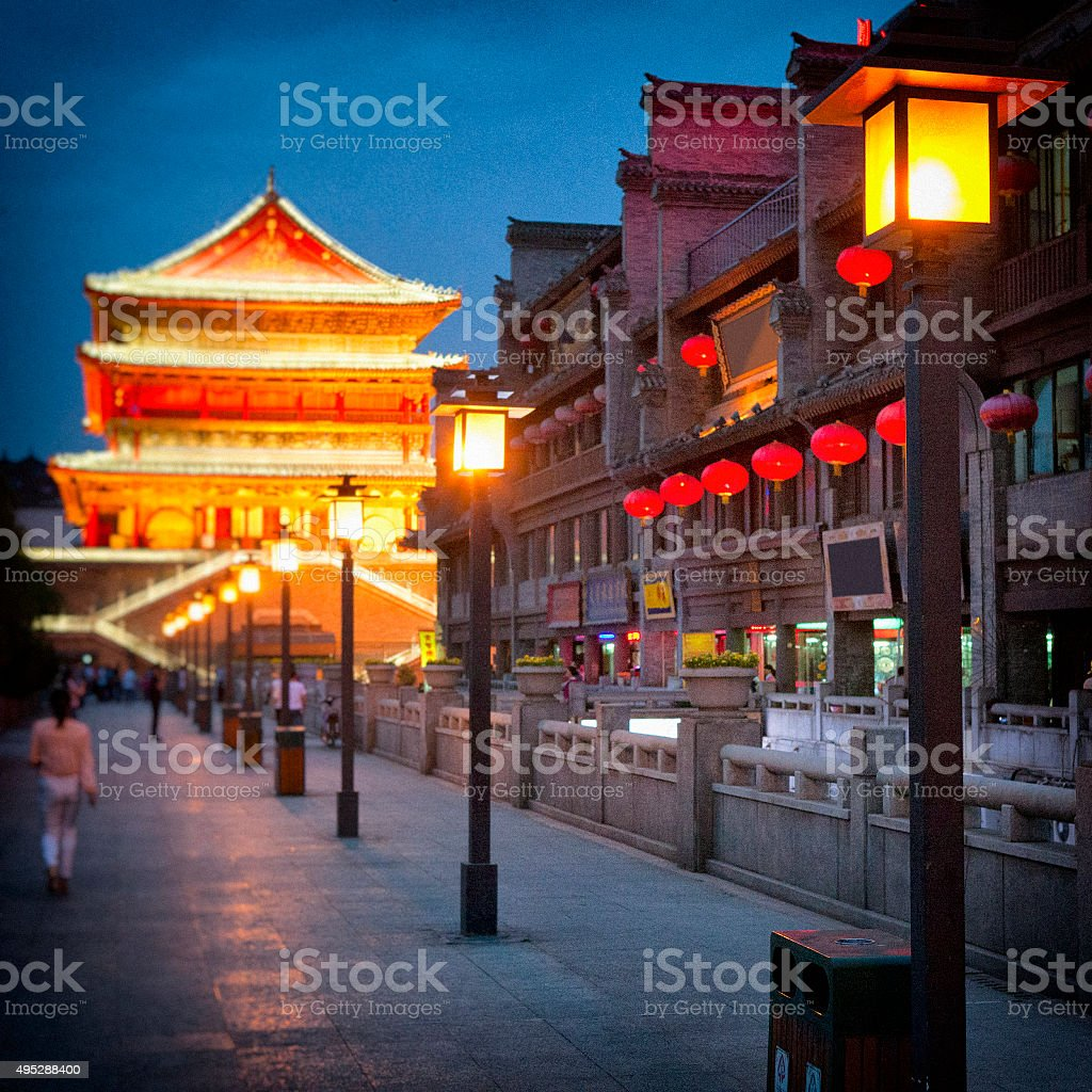 Drum Tower of Xi'an at Night stock photo
