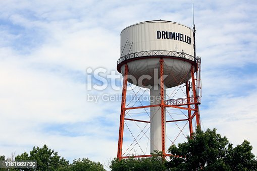 No longer used water tower stands above many buildings of Drumheller. Once supplied water to the town. Built in the 1950's.