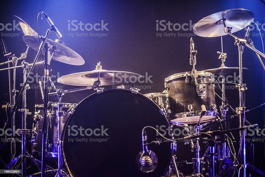 Drumkit on empty stage waiting for musicians stock photo