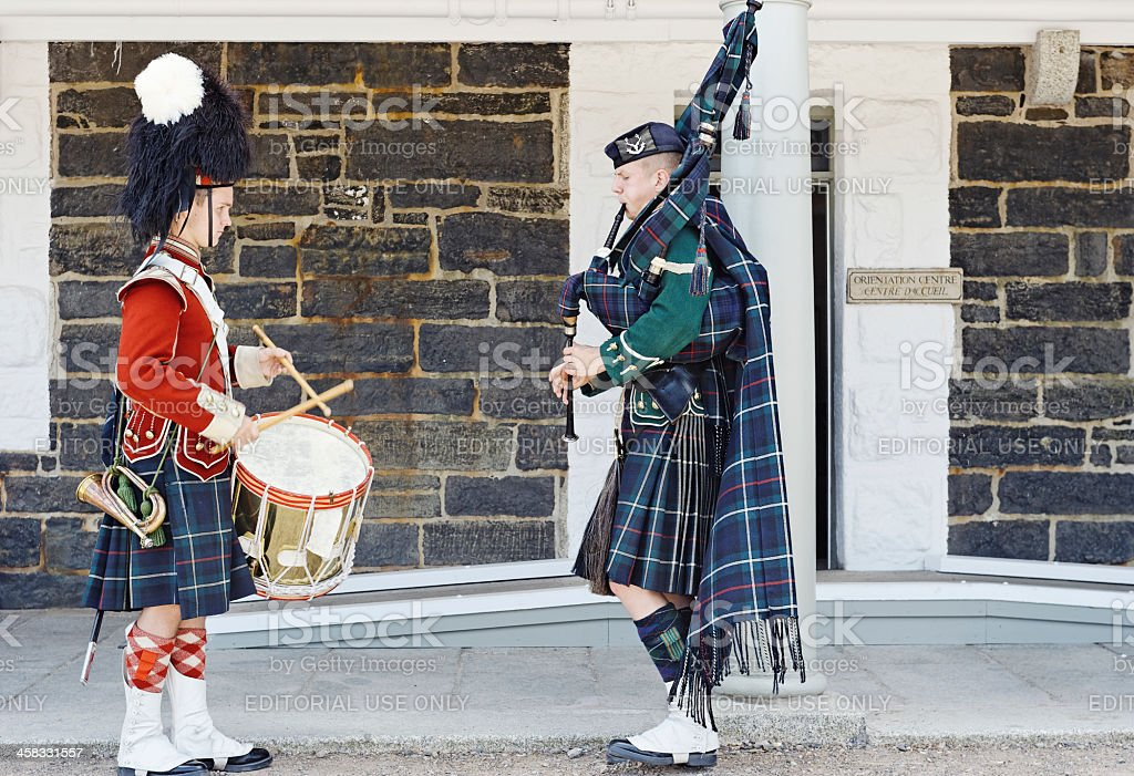 Drummer and bagpiper royalty-free stock photo