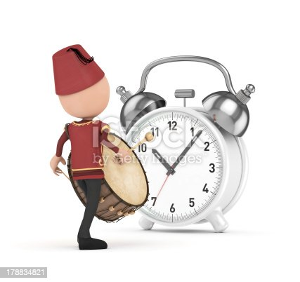 istock Drummer and white clock 178834821