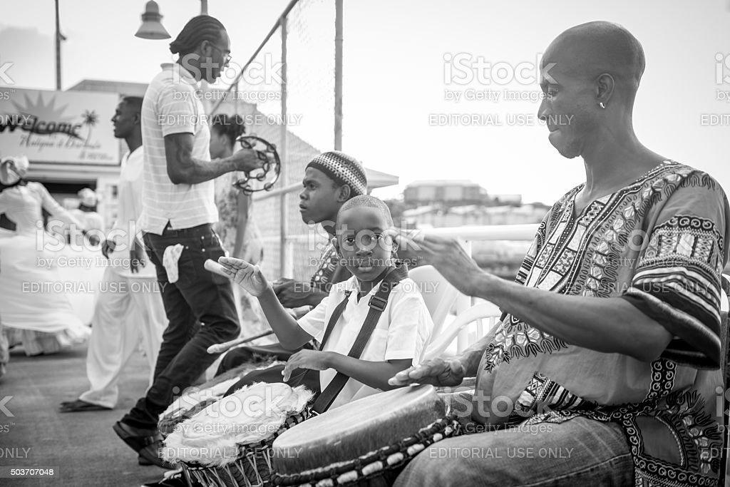 Drummer boy in St. John's, Antigua stock photo