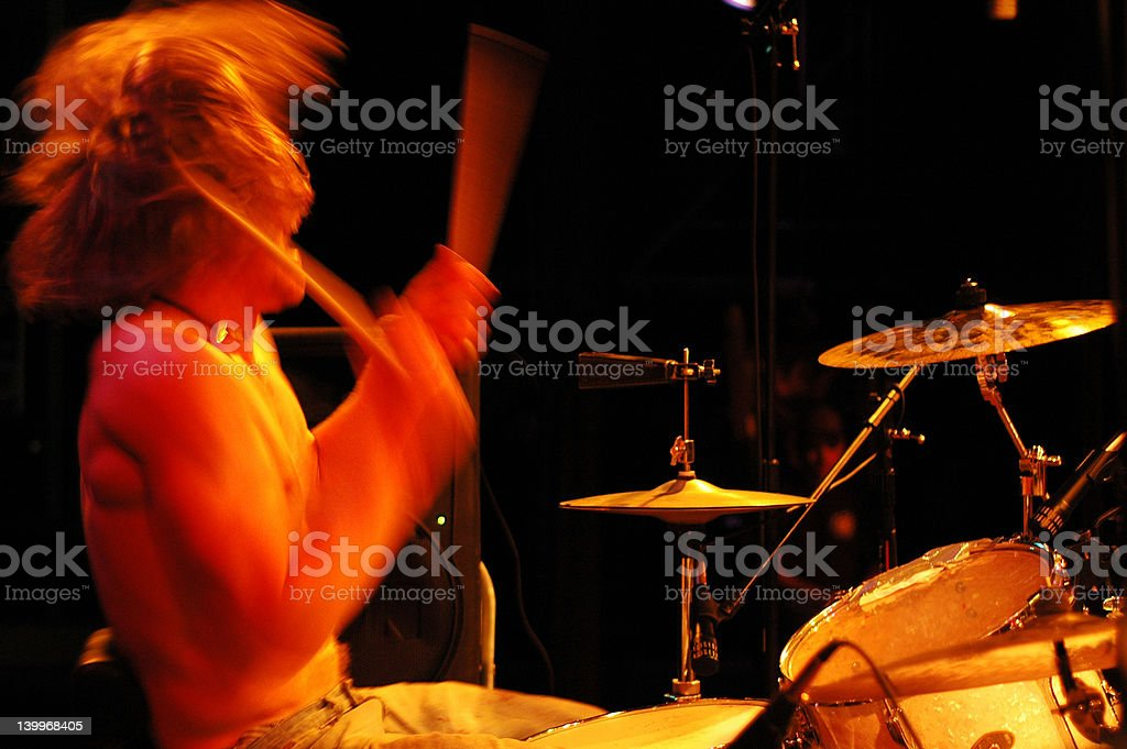Drummer Going Crazy royalty-free stock photo