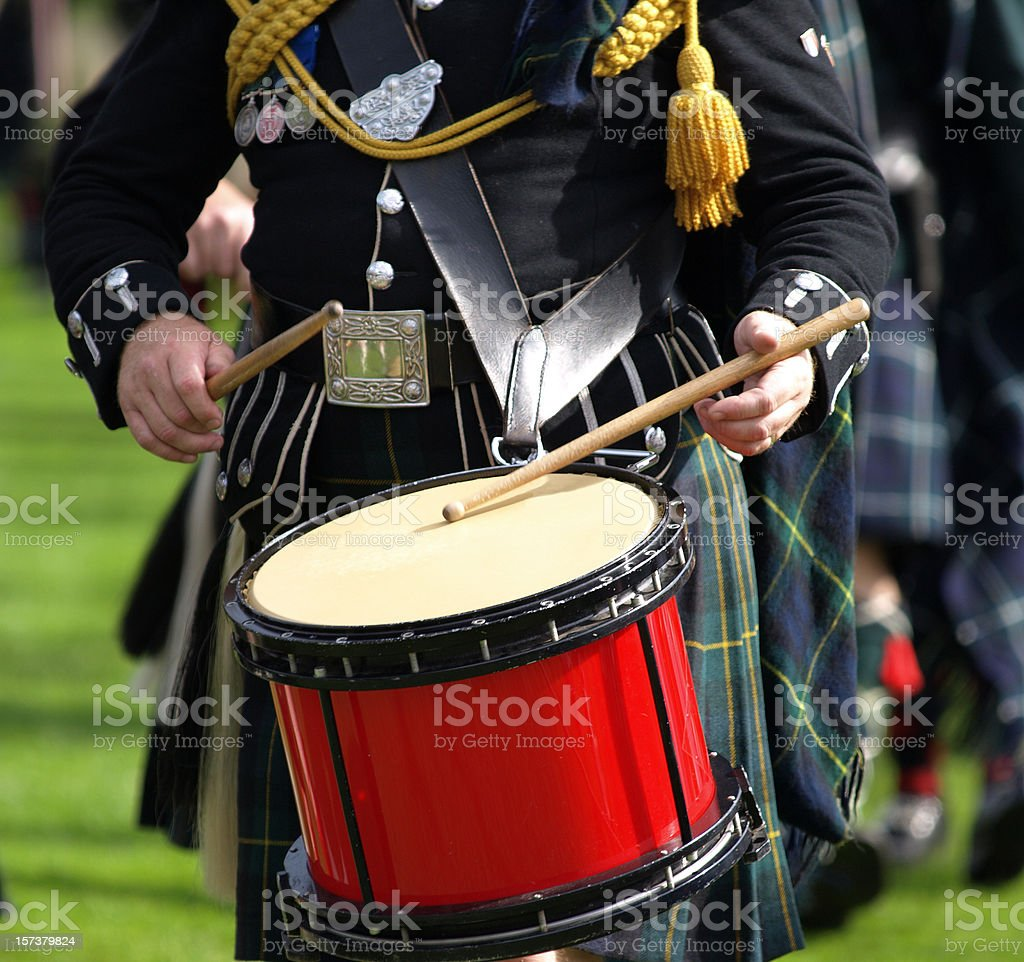 Drummer in a pipe band, Scotland stock photo