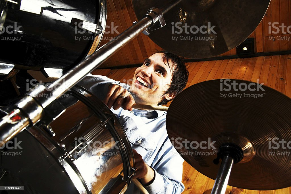 Drummer in drums stock photo