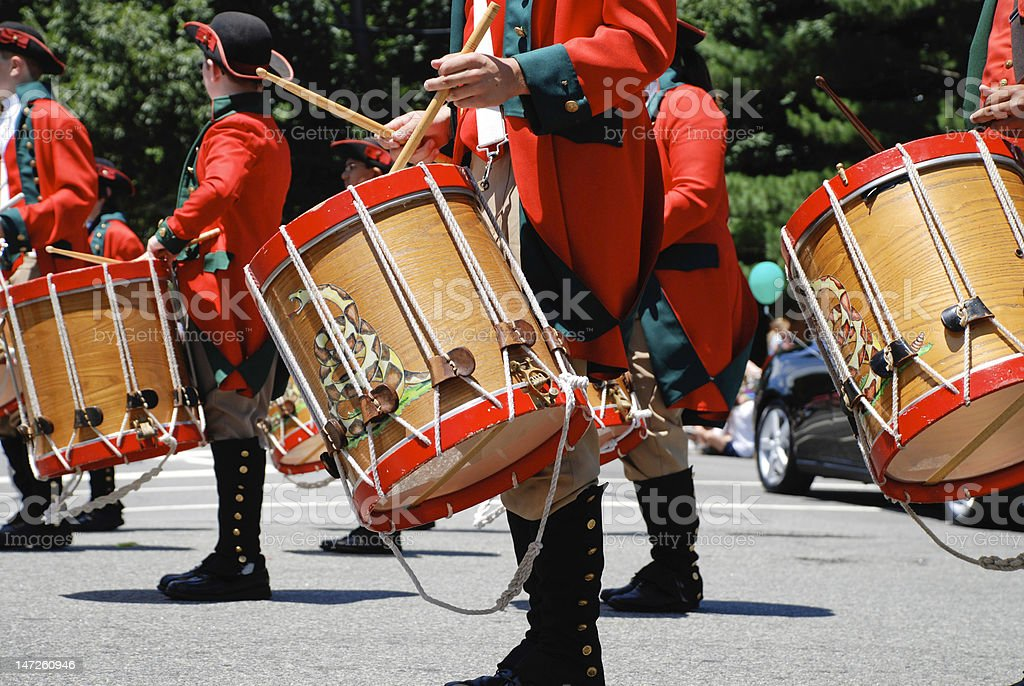 Drummer in small town Fourth of July parade stock photo