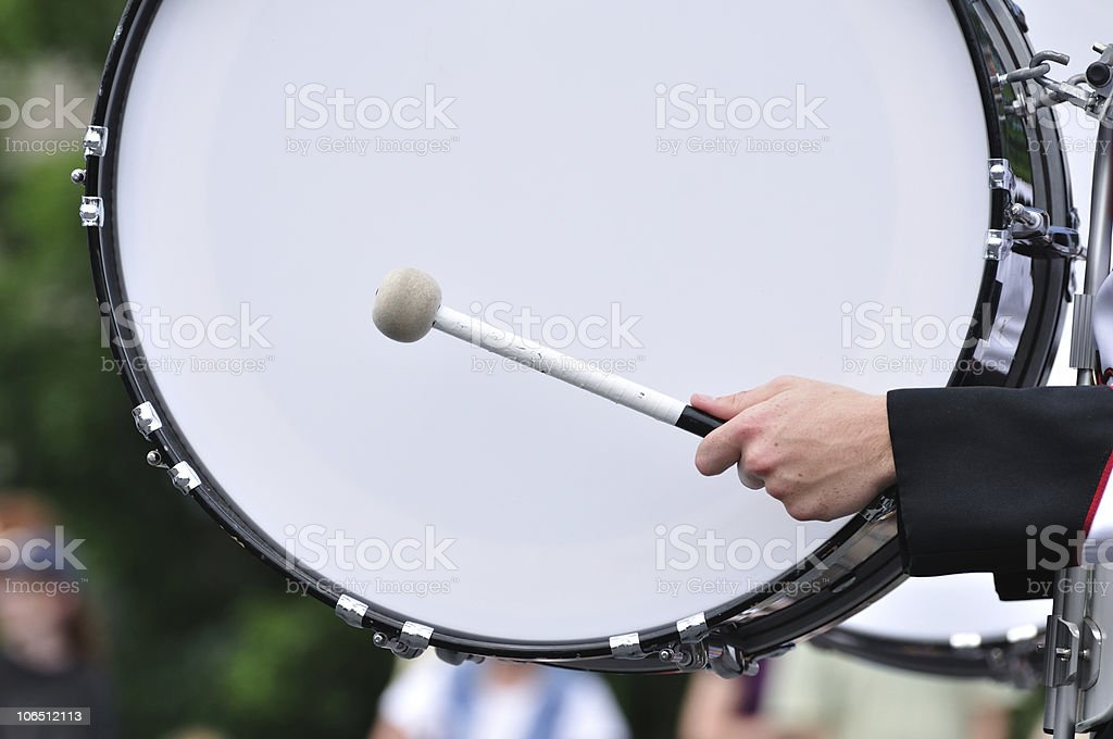 Drummer Playing Bass Drum in Parade royalty-free stock photo
