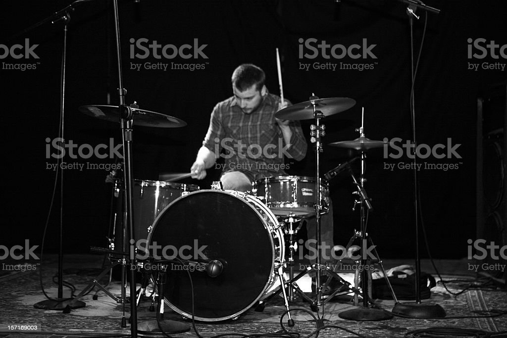 Drummer Playing Music. stock photo