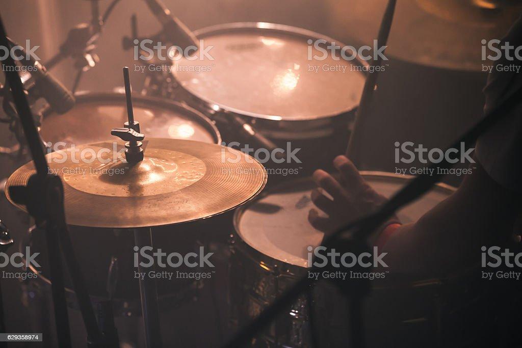 Drummer Plays On Rock Drum Set Stock Photo Istock