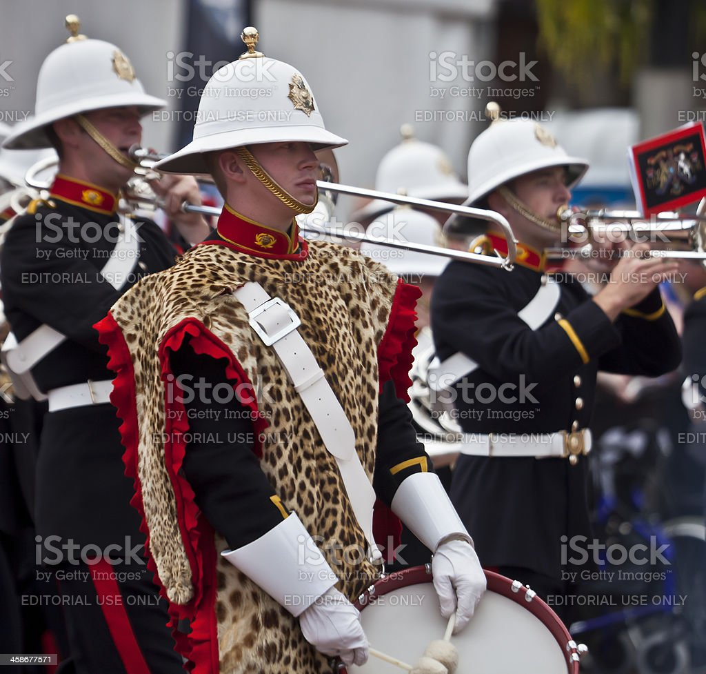 Drummer, trombonist and trumpeter: Royal Marines Band stock photo