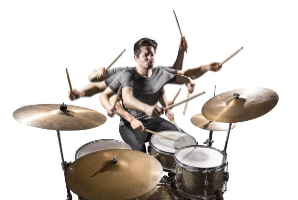 Drummer with many arms isolated on white Musician with 8 arms and sticks playing a drum set. White background. drummer stock pictures, royalty-free photos & images