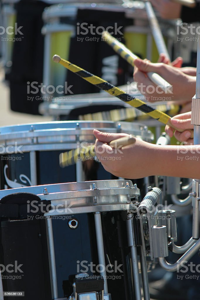 Drummers Drumming Snare Drums with Drumsticks stock photo