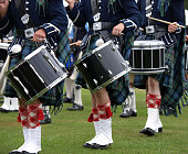 Drummers in a Pipe Band, Scotland
