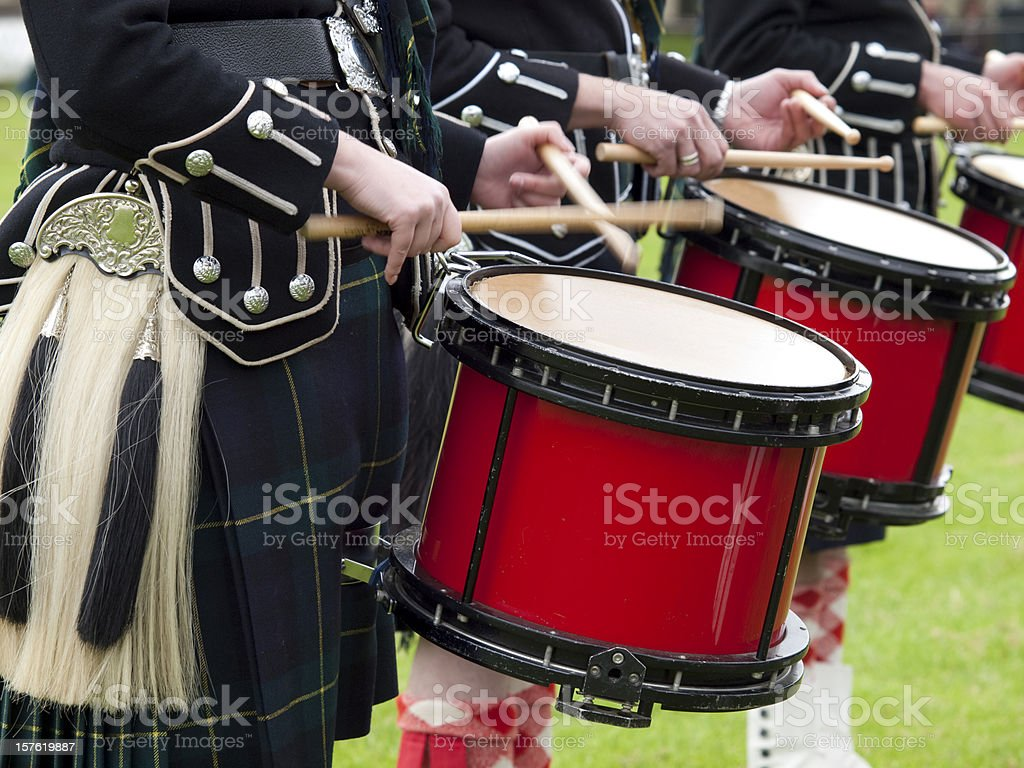 Drummers in a Scottish Marching Band royalty-free stock photo