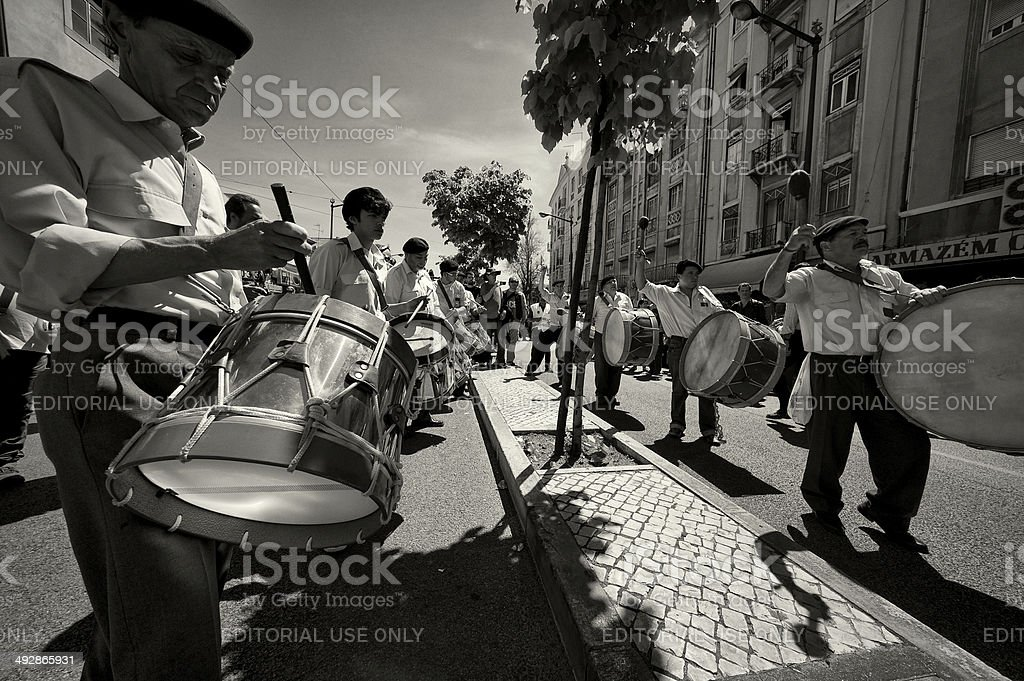 Drummers in Lisbon royalty-free stock photo