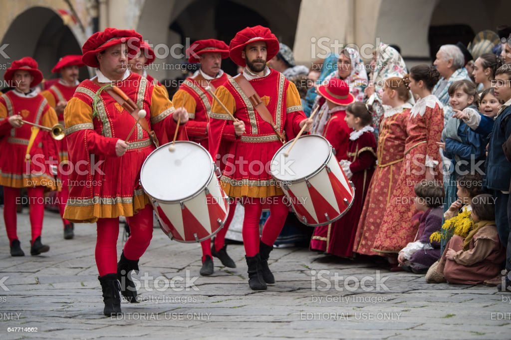 Drummers in medieval parade stock photo