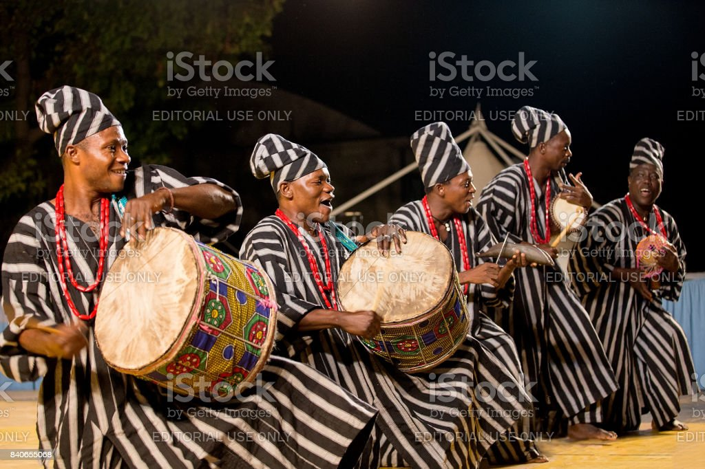 Drummers of Benin traditional dance company stock photo