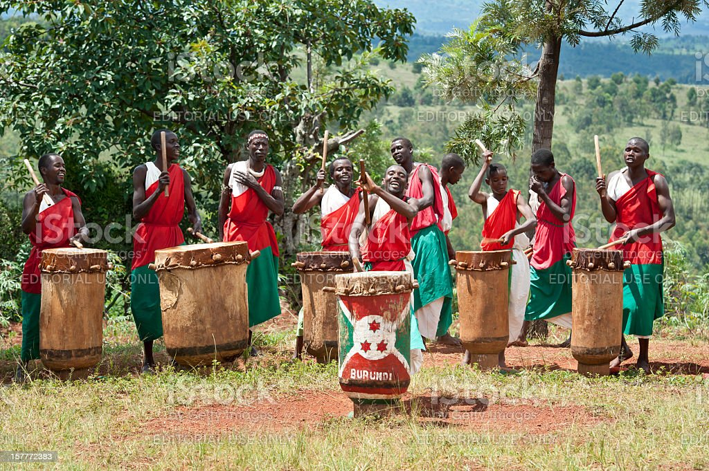 Drummers of Gitega in Burundi, Africa stock photo