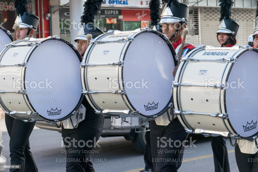 Drummers Playing  Bass Drum in the Mother's Day Parade stock photo
