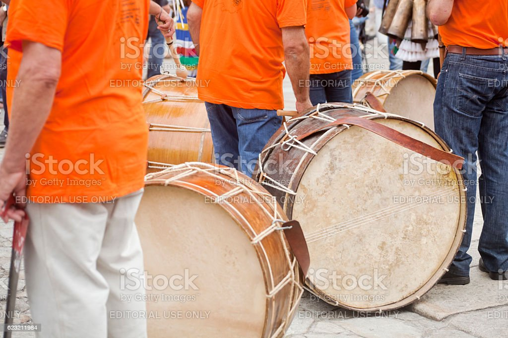 Drummers taking a rest. stock photo