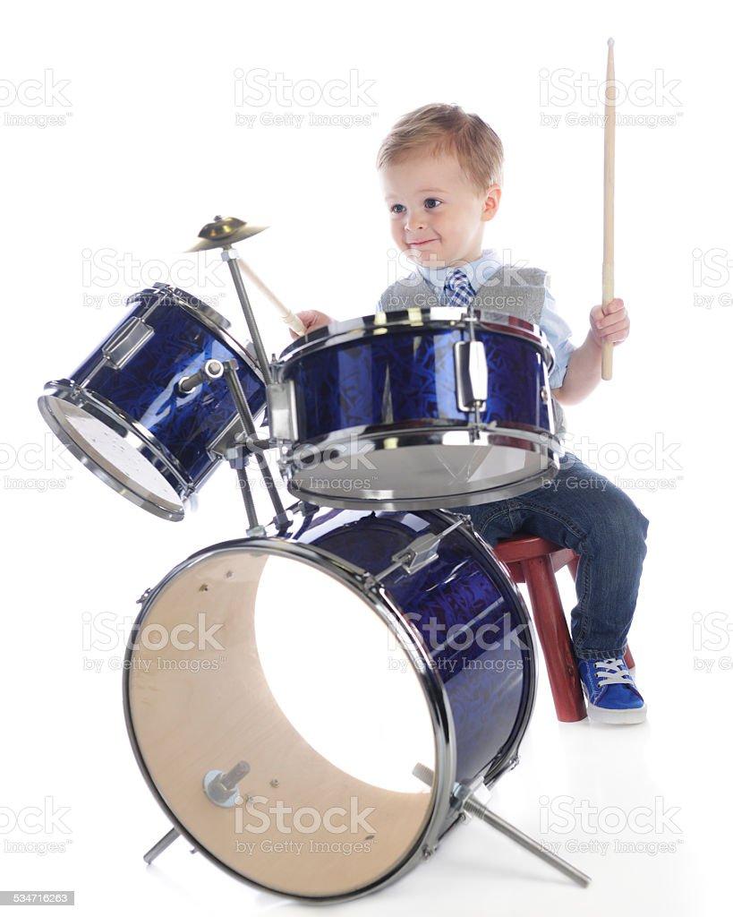 Drumming Preschooler stock photo