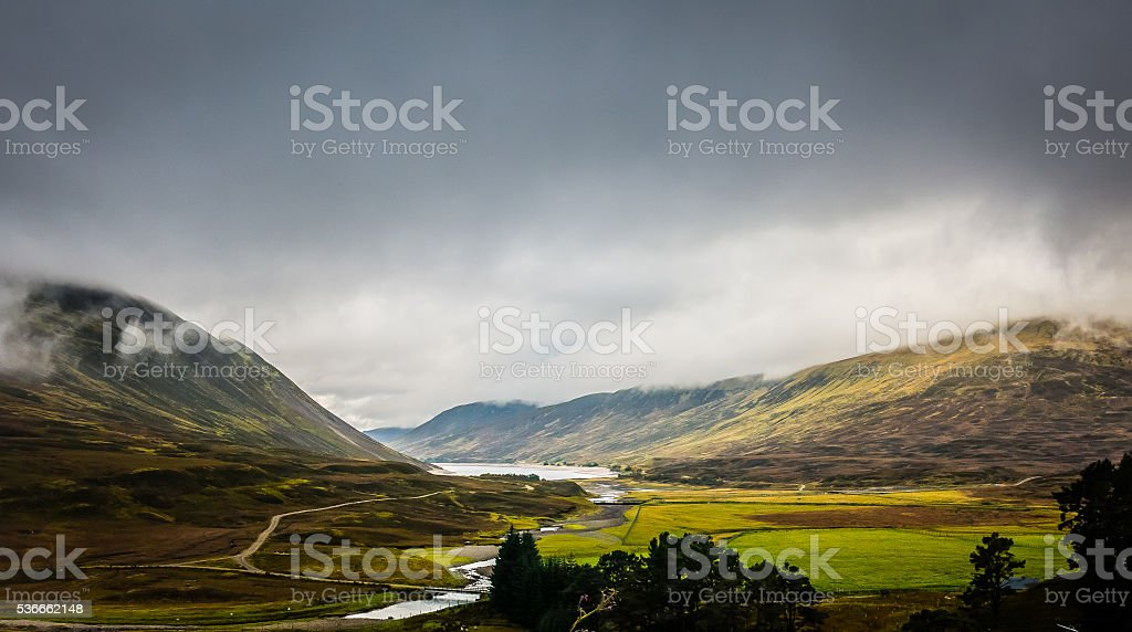 Drumochter Pass Valley Panoramic View, Highlands, Scotland stock photo