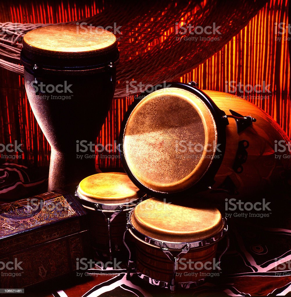 drums and congas on stage stock photo