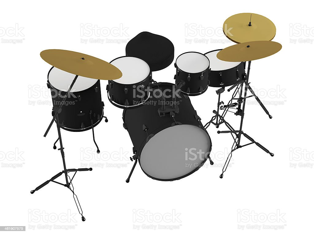 Drums isolated. Black drum kit. stock photo