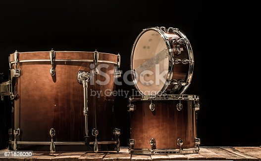 istock drums, musical percussion instruments on a black background 671826030