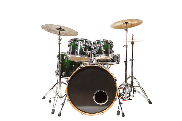 Drums on a white background Drum set with green color stands on a white background drummer stock pictures, royalty-free photos & images