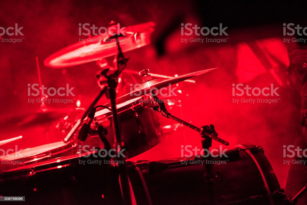 Drums on stage on a rock concert stock photo