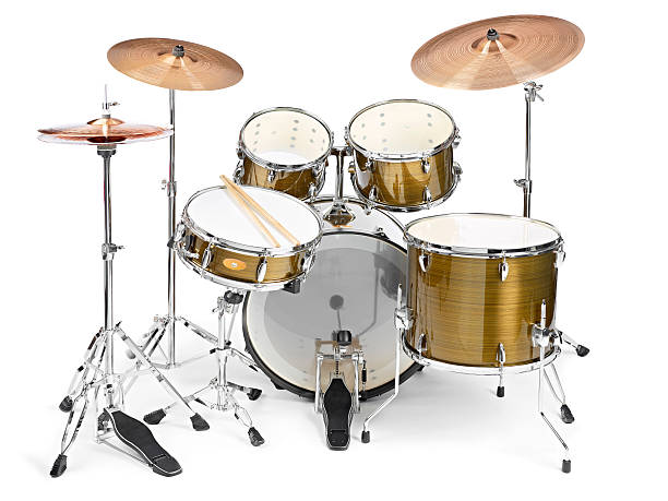 Drums Standard drum kit with base,, snare,, 3 toms,, hi-hat and 2 crash cymbals drum kit stock pictures, royalty-free photos & images